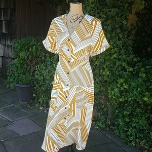 Lush mustard striped button front dress size S